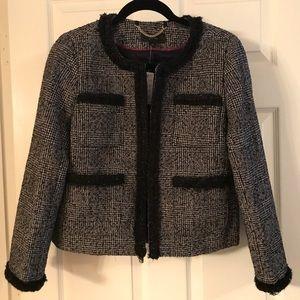 Glen plaid lady jacket with braided trim